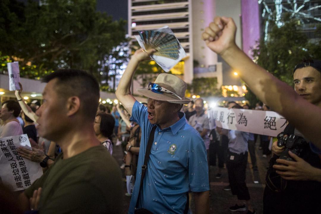2019年6月22日,中環遮打花園舉行撐警晚會。 攝:林振東/端傳媒