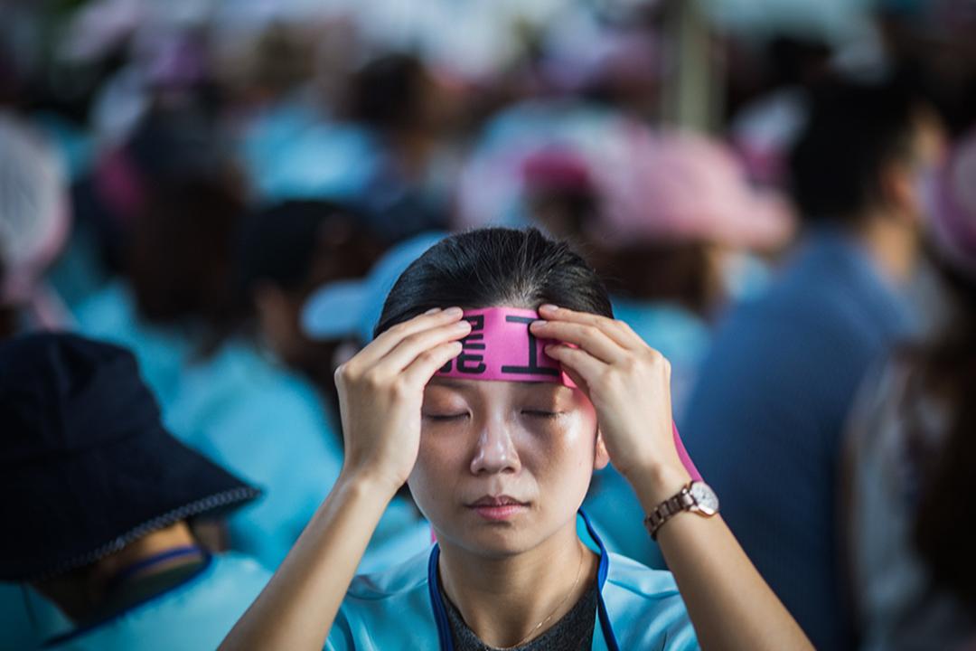 2019年6月21日,大批的空服員聚集在長榮南崁航運大樓外展開罷工。