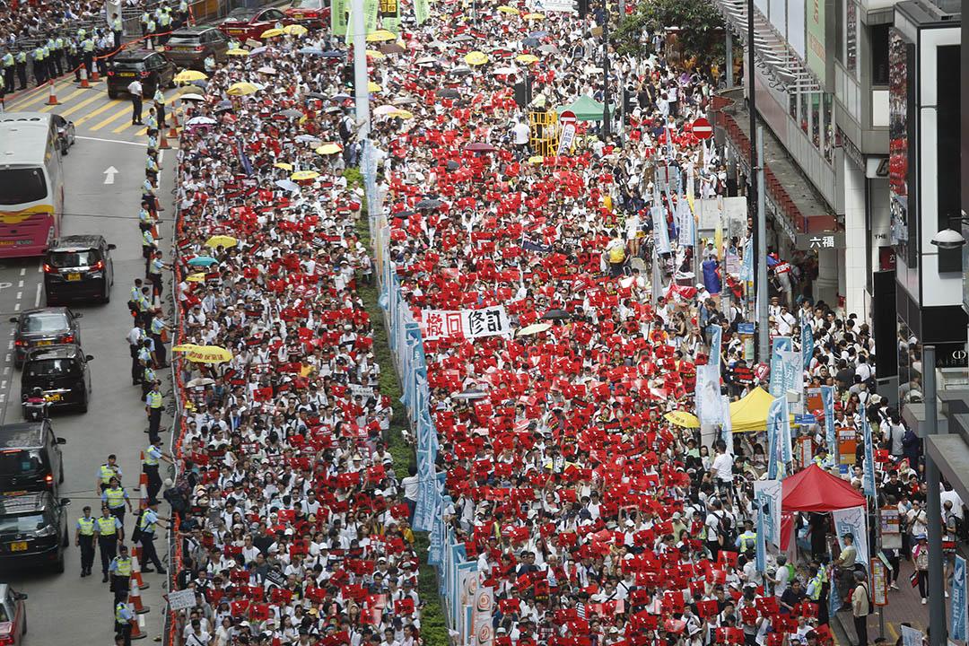 2019年6月9日,民間人權陣線發起「反送中」遊行,遊行隊伍遊行至銅鑼灣。