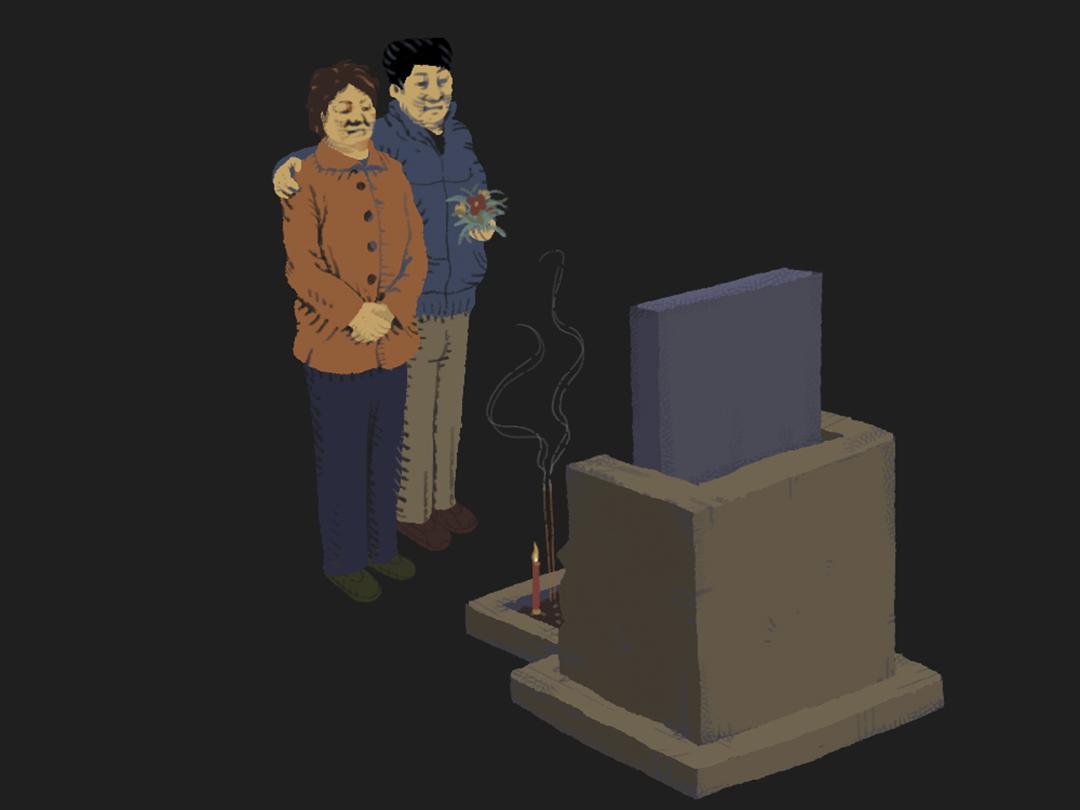 陳雲飛每年去為六四死難者掃墓,親自上門探望其家人,中秋節又買點月餅去,後來還成為了他們的義子。