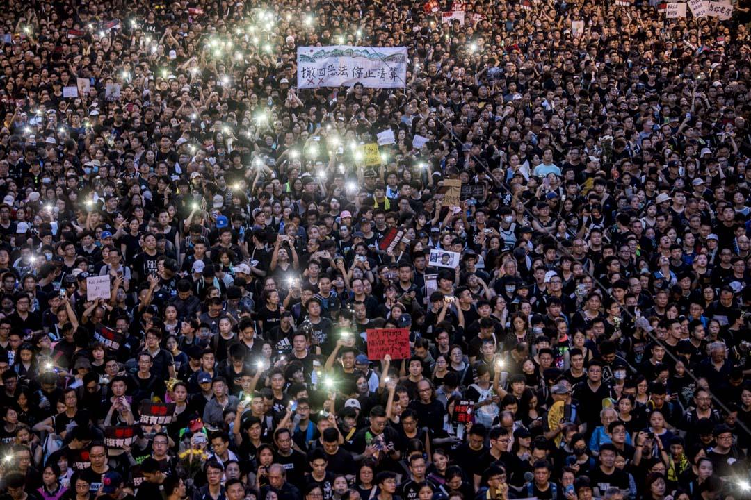 2019年6月16日,香港民陣發起第四次反對《逃犯條例》修訂大遊行 。  攝:林振東/端傳媒