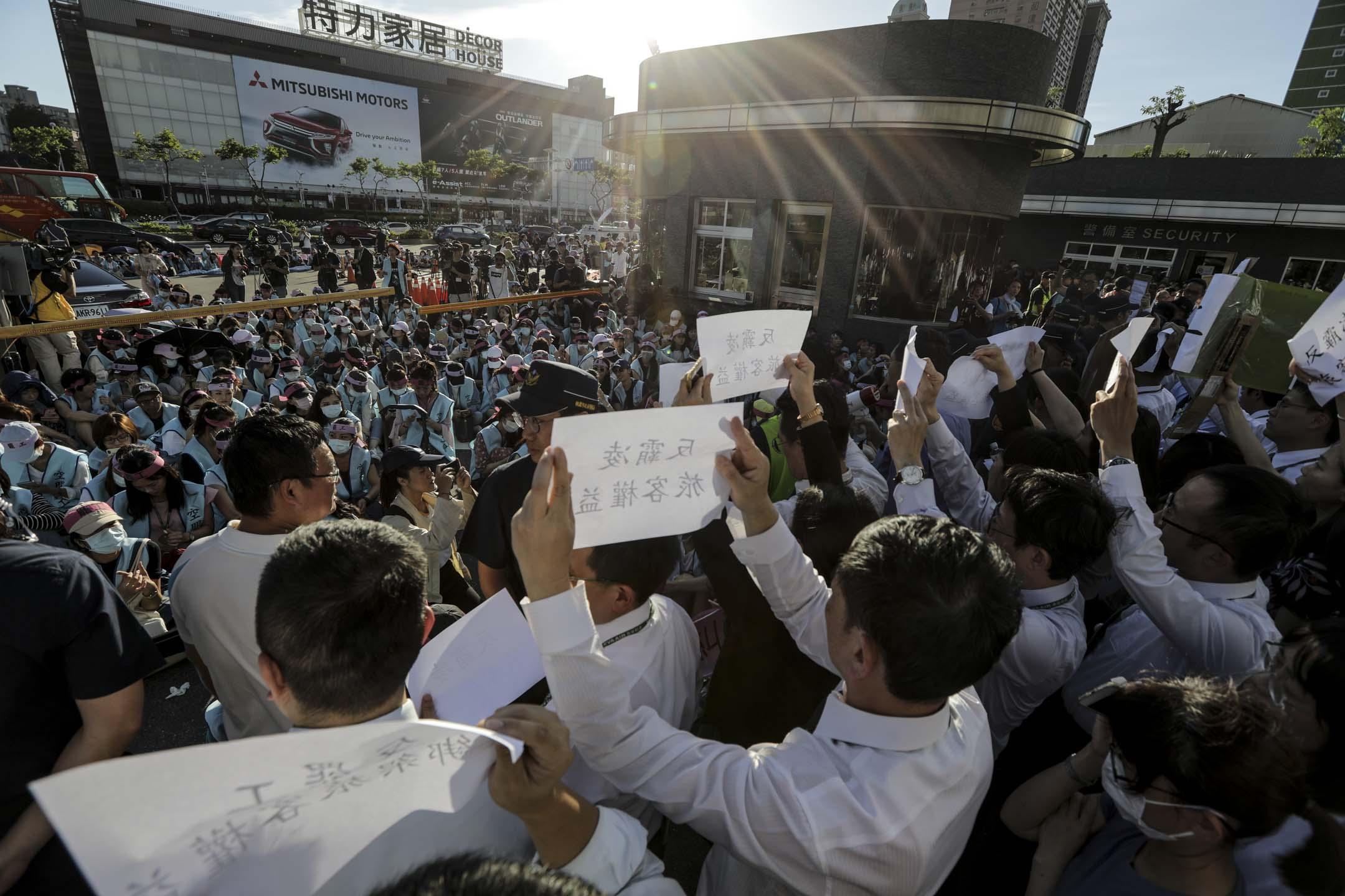 2019年6月20日,長榮航空與工會協商破裂,工會宣布立即啟動罷工。 攝:張藍/端傳媒