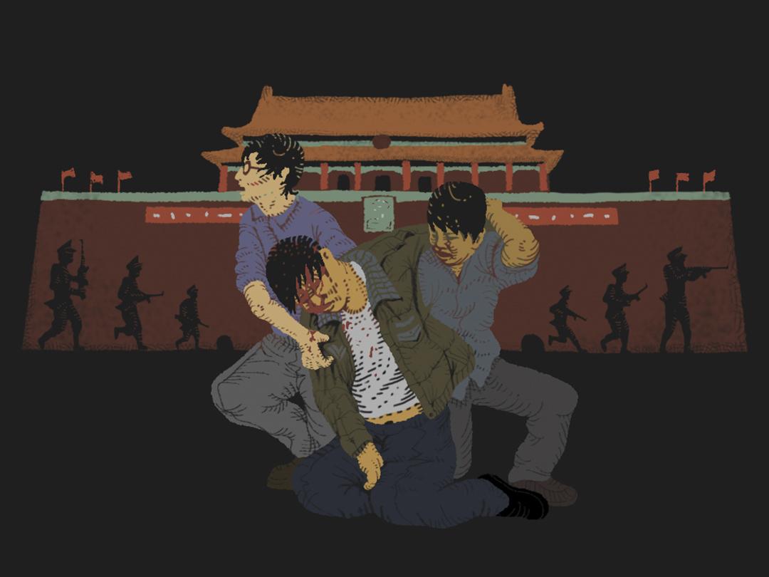 六月三日晚上,防暴警察拿著警棍劈哩啪啦的打學生,陳雲飛被打個頭破血流,頓時沒了意識。