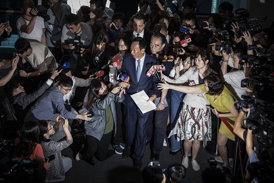 2019年5月13日,鴻海董事長郭台銘到台北國民黨中央黨部會面主席吳敦義。