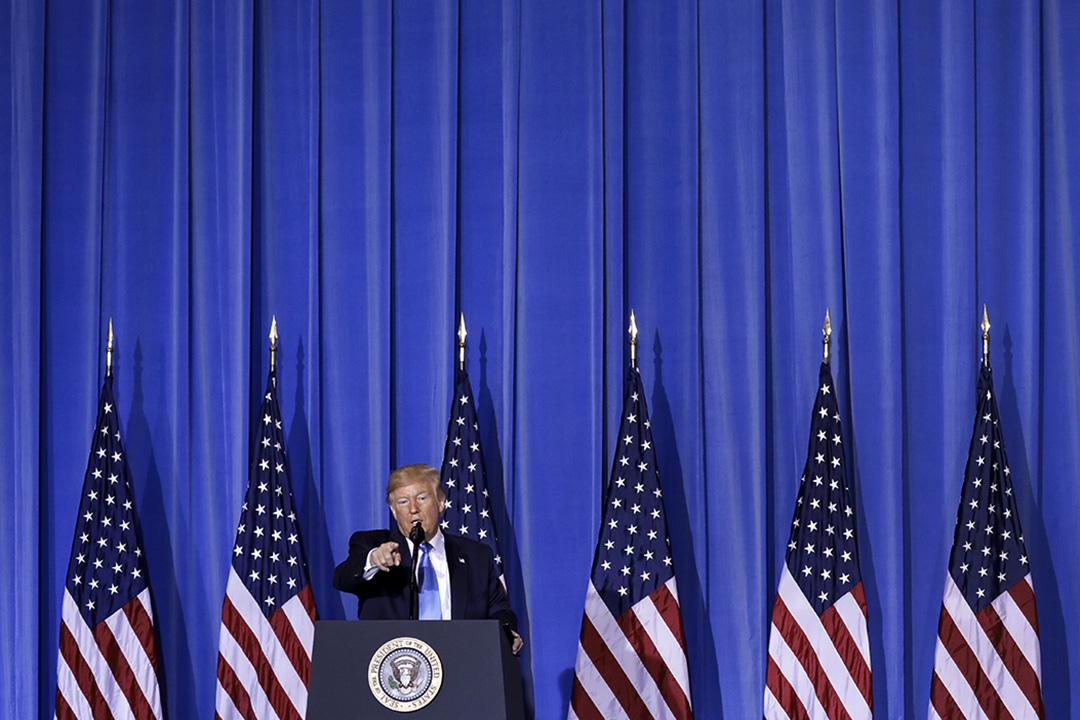 2019年6月29日,美國總統特朗普在日本大阪舉行的20國集團(G20)峰會後的新聞發布會上發表講話。