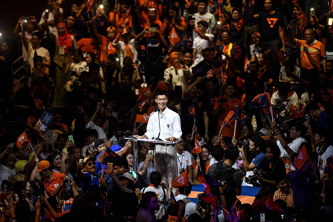 2019年3月22日,新未來黨領袖Thanathorn Juangroongruangkit在曼谷舉行的黨的最後一次重大競選集會期間。