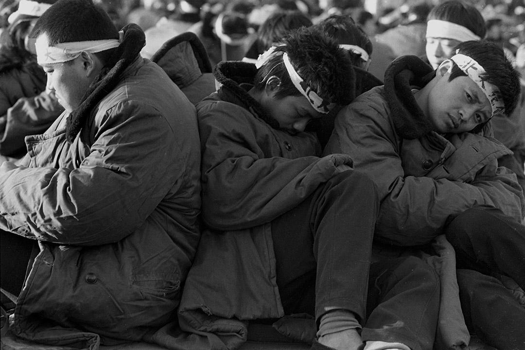 1989年5月14日,北京天安門廣場上絕食的學生。