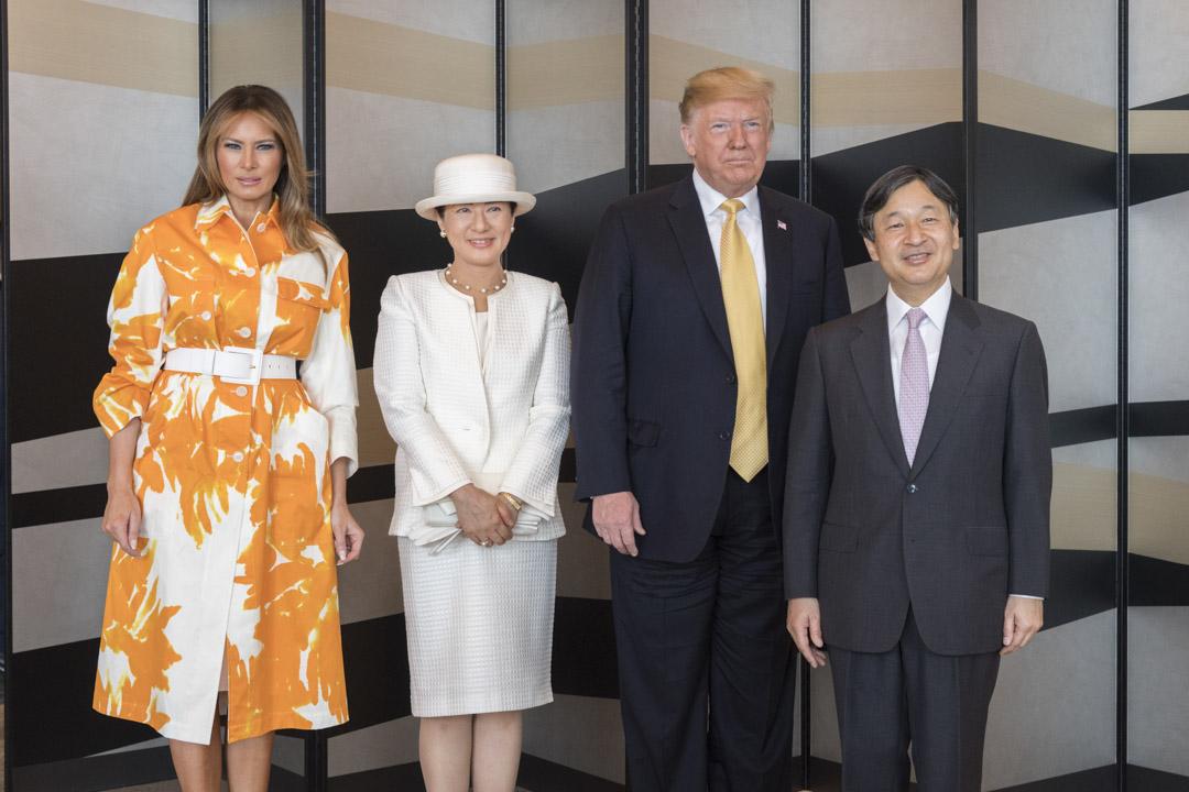 2019年5月28日,日本東京舉行的宮廷廳,日本皇帝德仁美國總統特朗普。