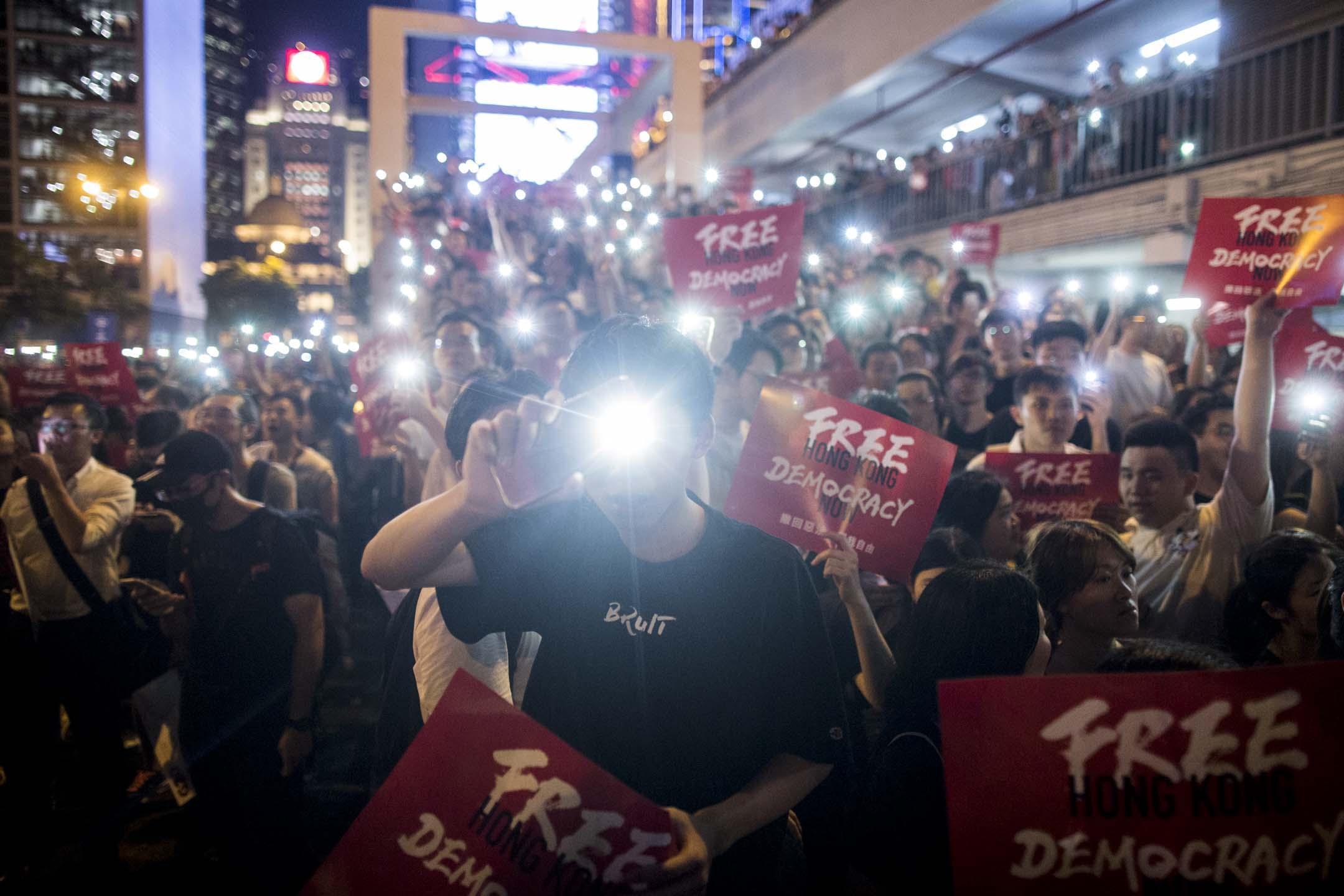 2019年6月26日,民陣在中環愛丁堡廣場舉行「G20 Free Hong Kong Democracy Now」集會。 攝:林振東/端傳媒