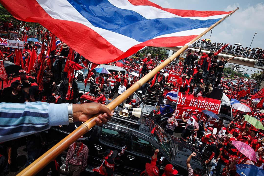 2010年3月15日,被廢除的泰國總理他信的支持者,在曼谷聚集。