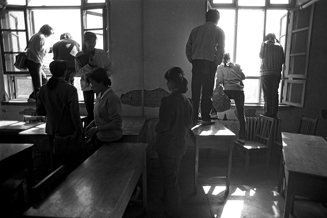 1989年4月26日,北京高等學校學生聯合會記者會。
