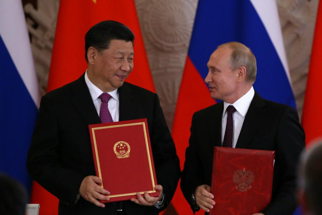 2019年6月5日,習近平訪俄,與普京發表聯合聲明,宣布中俄關係提升為「新時代全面戰略協作夥伴關係」。 攝:Mikhail Svetlov/Getty Images