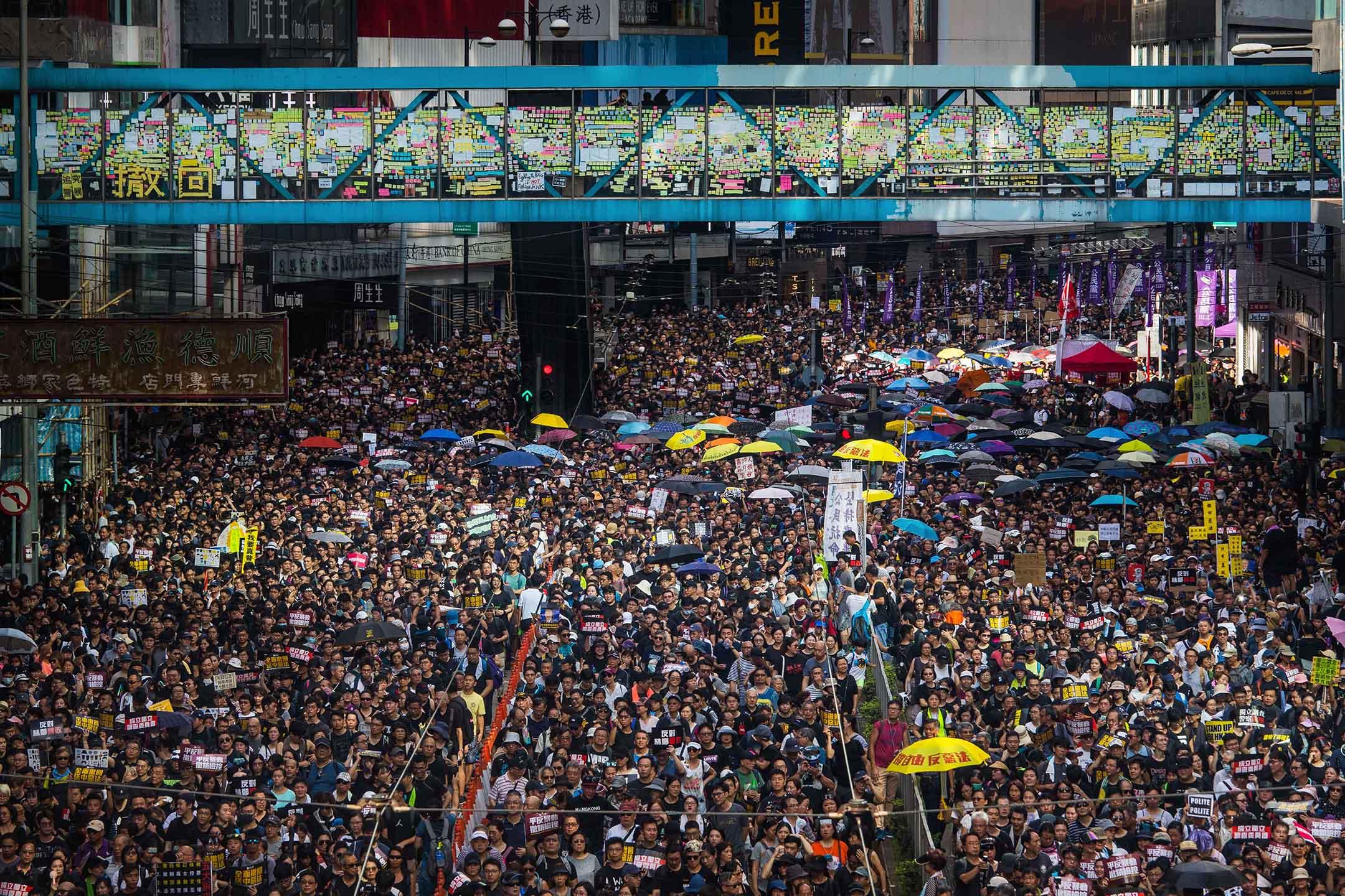2019年7月21日,香港民間人權陣線再度發起反修例遊行。  攝:陳焯煇/端傳媒