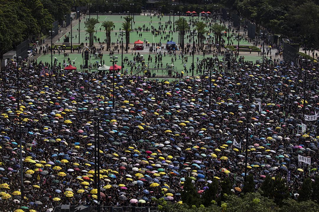 2019年8月18日,市民響應「民間人權陣線」號召,於銅鑼灣維多利亞公園參與集會。