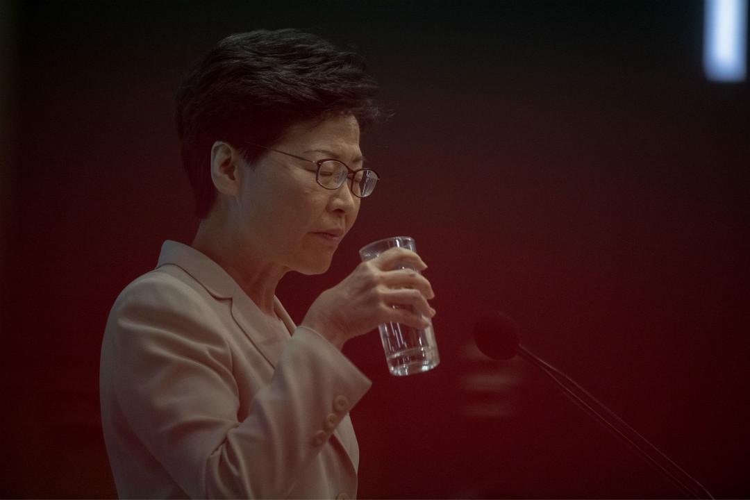 2019年6月18日,香港行政長官林鄭月娥召開記者會。 攝:Vernon Yuen/Getty Images