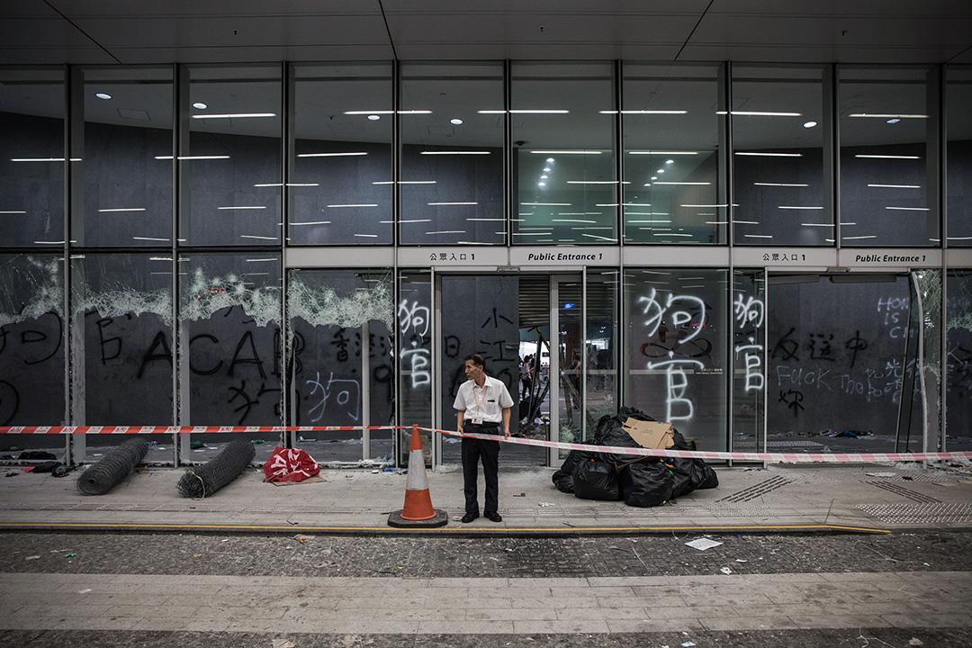 2019年7月3日,立法會示威區的出入口。