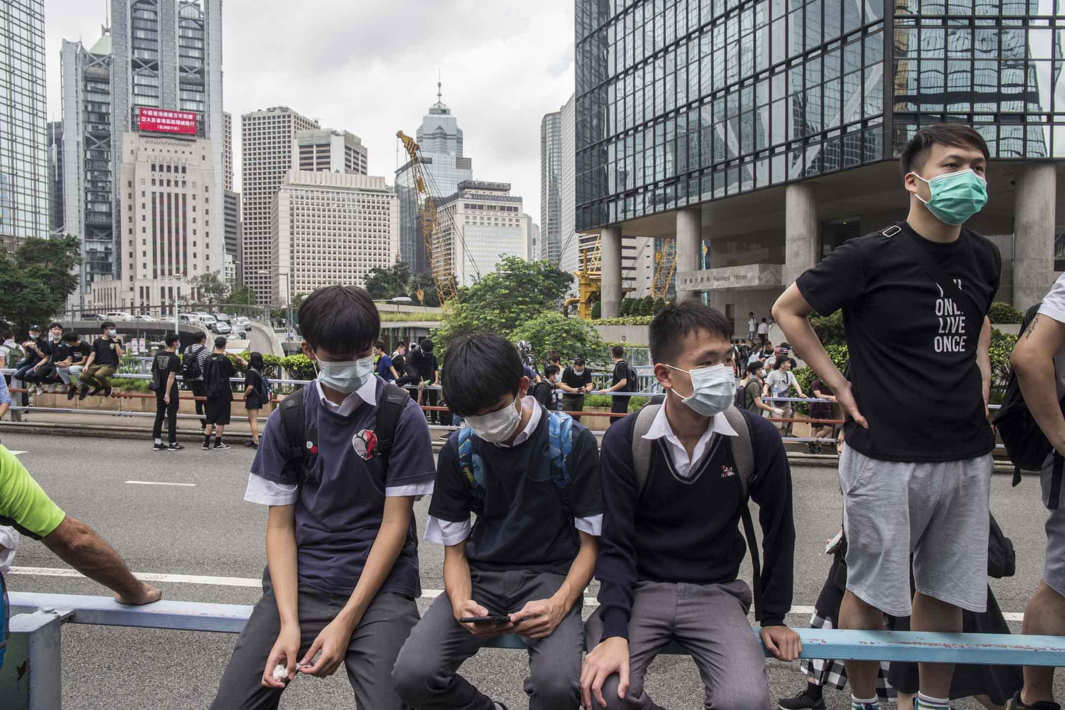2019年6月12日,學生在金鐘佔領區。