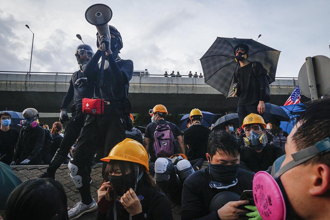 示威者聚集在西環一帶。