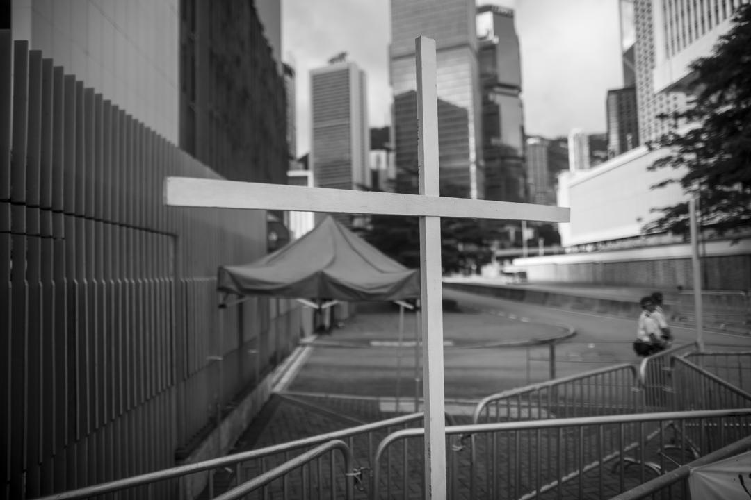 2019年6月21日,特首辦外有十字架竪立。