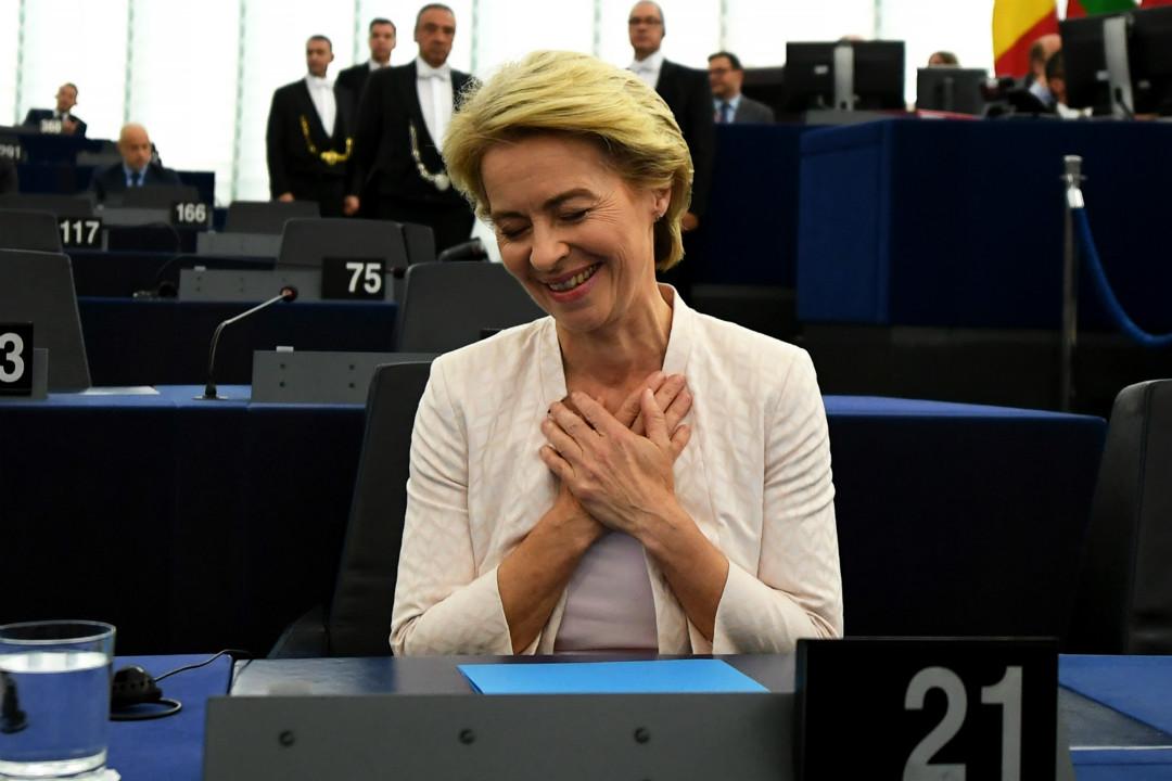 2019年7月16日,法國斯特拉斯堡,德國前國防部長馮德萊恩(Ursula von der Leyen)當選歐盟委員會主席。 攝:Imagine China