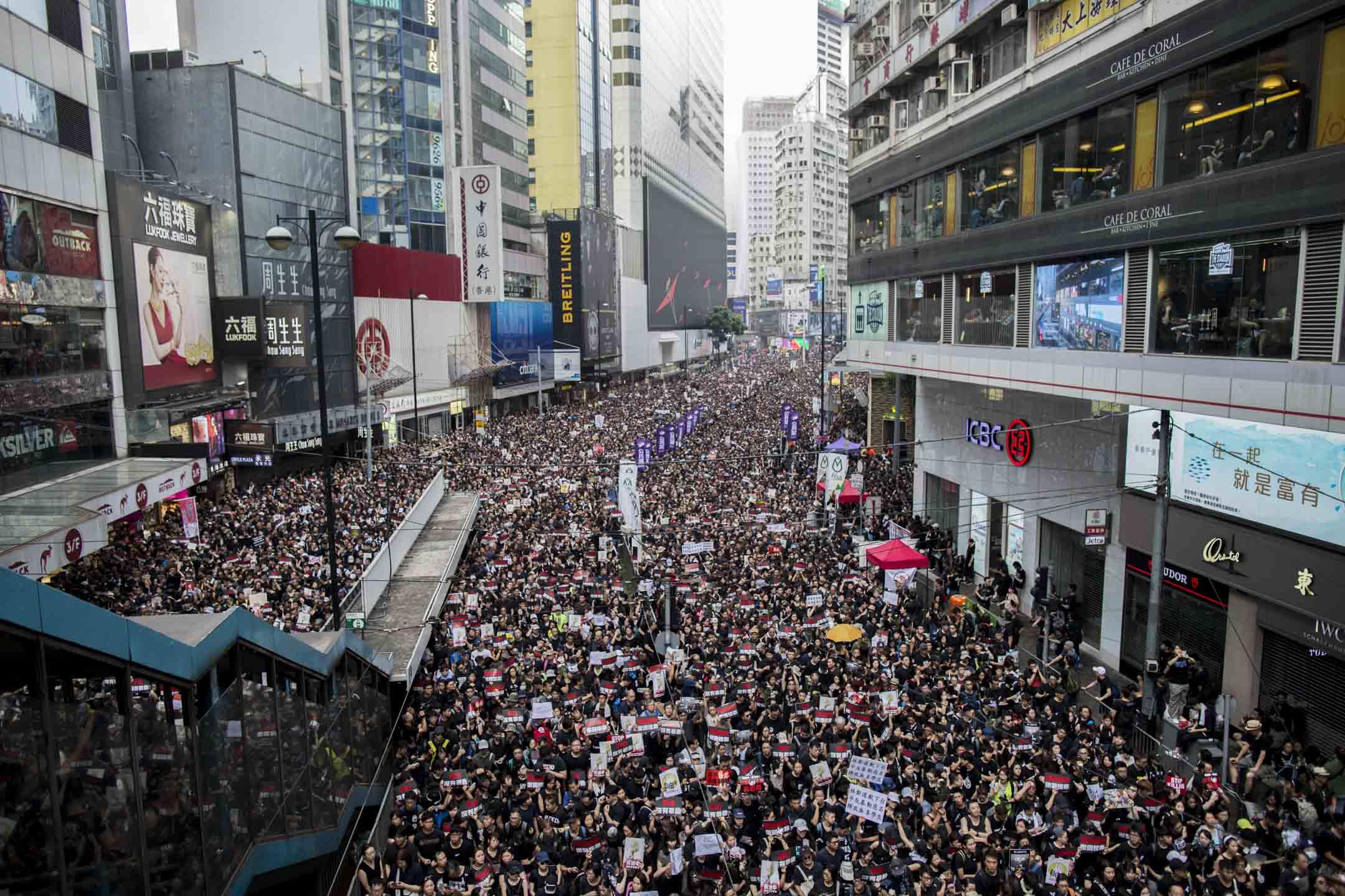 2019年6月16日,民陣發起遊行反對修訂《逃犯條例》。 攝:林振東/端傳媒