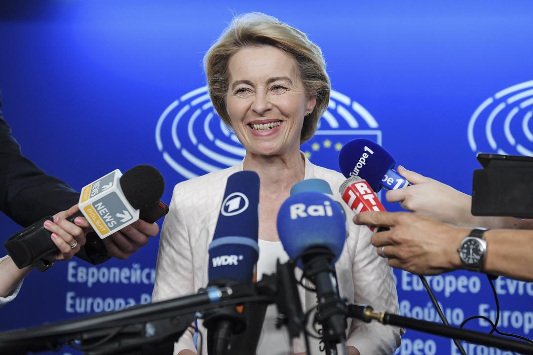 2019年7月3日,新任命的新一屆歐盟委員會主席 Ursula von der Leyen在法國東部斯特拉斯堡舉行的新一屆歐洲議會第一次全體會議上向記者發表講話。 攝:Frederick Florin/AFP/Getty Images