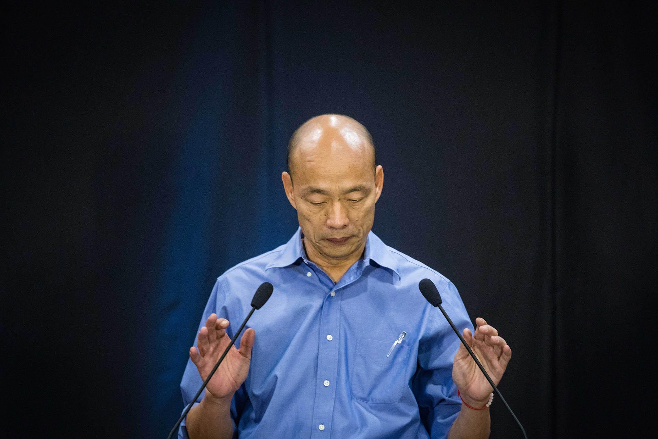 2019年6月25日高雄,韓國瑜出席2020年總統大選國民黨初選的政見發表會。 攝:陳焯煇/端傳媒