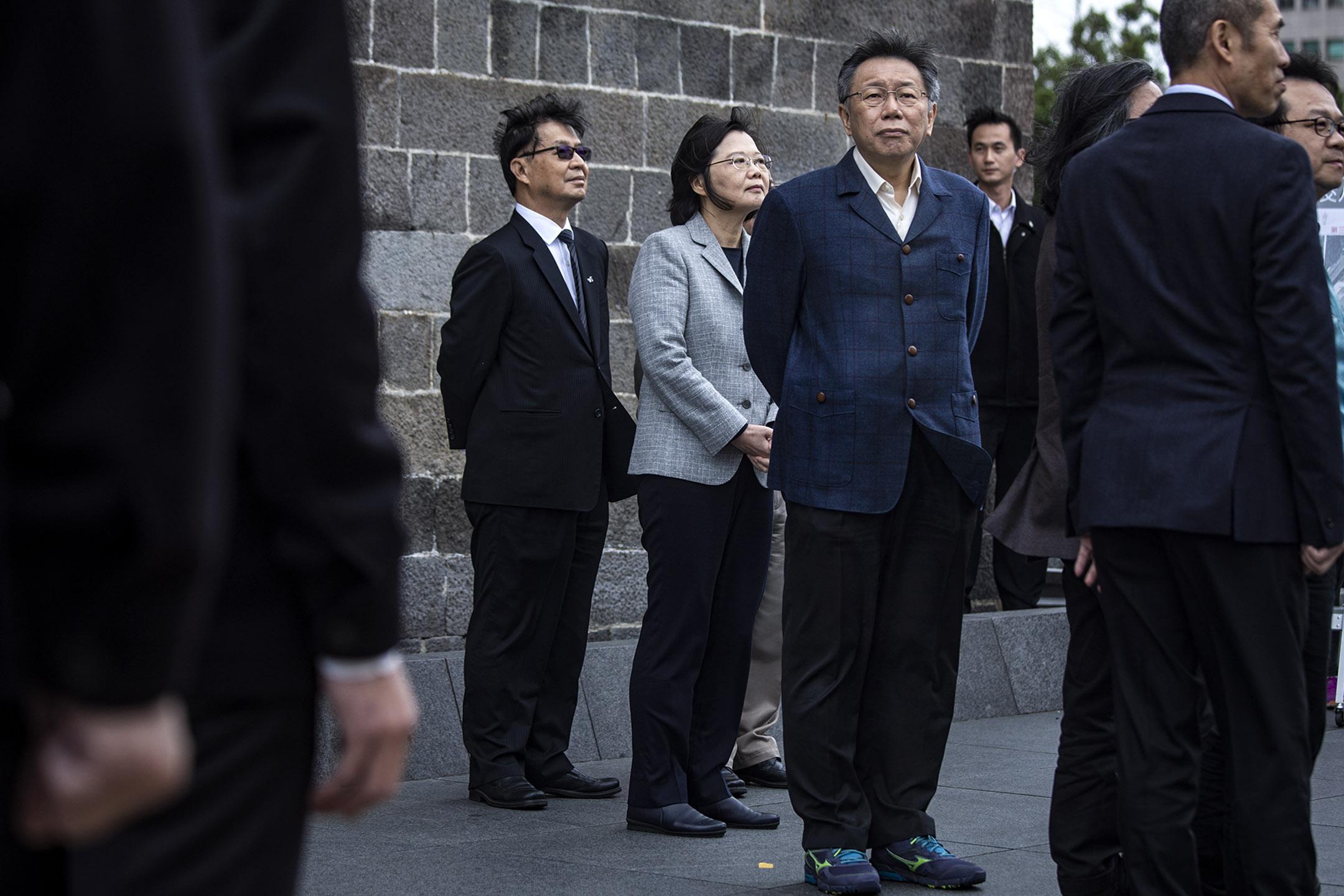2018年12月13日,台北市長柯文哲與總統蔡英文會面,聽取「西區門戶計畫」相關成果。 攝:陳焯煇/端傳媒