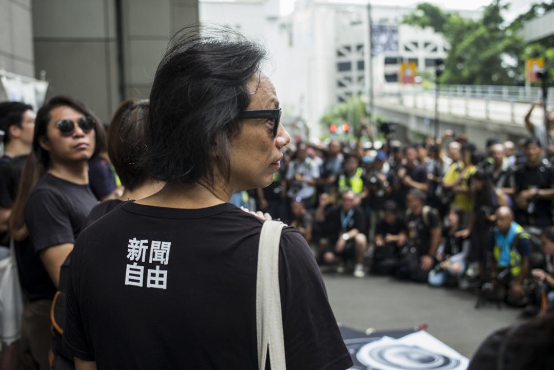 2019年7月14日,七個傳媒工會發起「停止警暴 捍衛新聞自由」新聞界靜默遊行,要求警方尊重新聞自由。