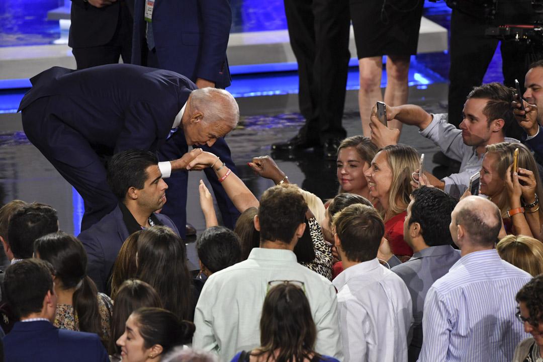 2019年6月27日,美國民主黨初選辯論,拜登(Joe Biden)。 攝:Saul Loeb/AFP/Getty Images