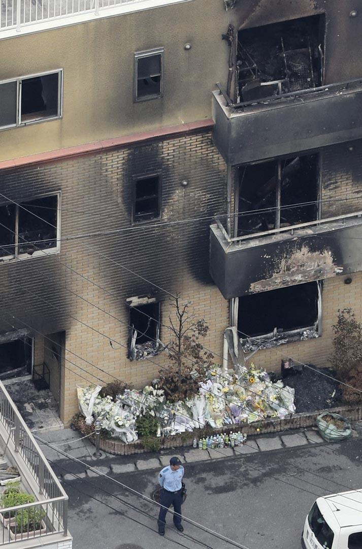2019年7月20日,警方在京都動畫的火災現場進行調查。