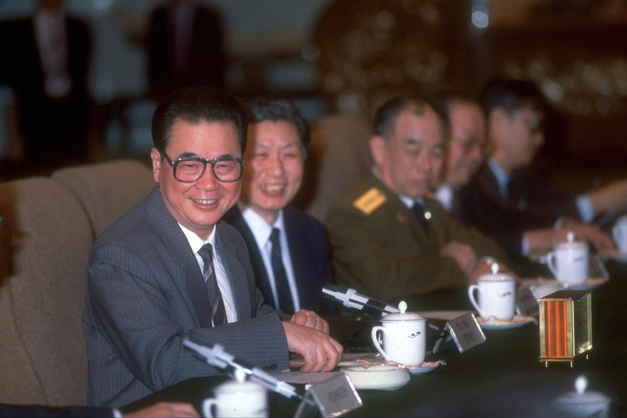 1989年10月5日,會議中的李鵬。