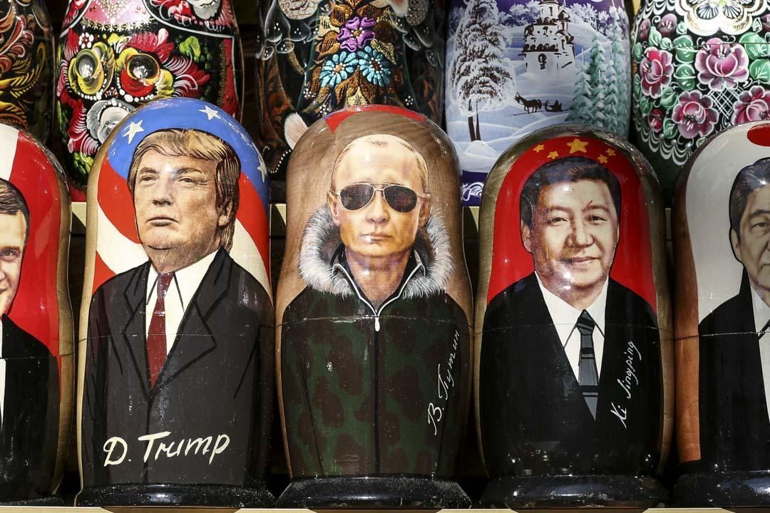 美國總統特朗普、俄羅斯總統普京及中國國家主席習近平的娃娃。 攝:Andrey Rudakov/Bloomberg via Getty Images