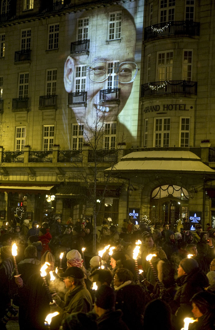2010年12月10日,諾貝爾和平獎頒獎禮,劉曉波的肖像被投射在奧斯陸的酒店牆上。