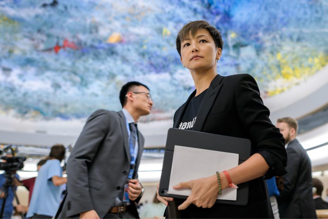 2019年7月8日,香港歌手何韻詩(Denise Ho)在日內瓦舉行的聯合國人權理事會上發言呼籲保護香港民眾。 攝:Fabrice Coffrini/Getty Images