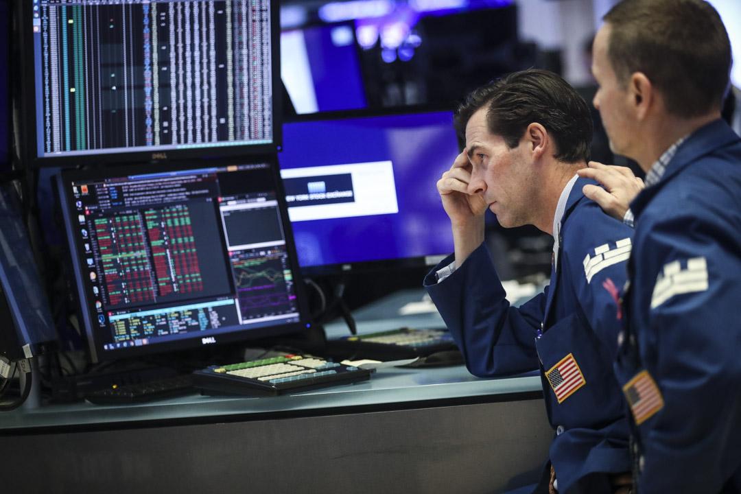 2019年8月1日,紐約證券交易所,特朗普宣布計劃對另外價值3000億美元的中國進口產品徵收10%的關稅後,引致美國華爾街股市大幅下跌。 攝:Drew Angerer/Getty Images