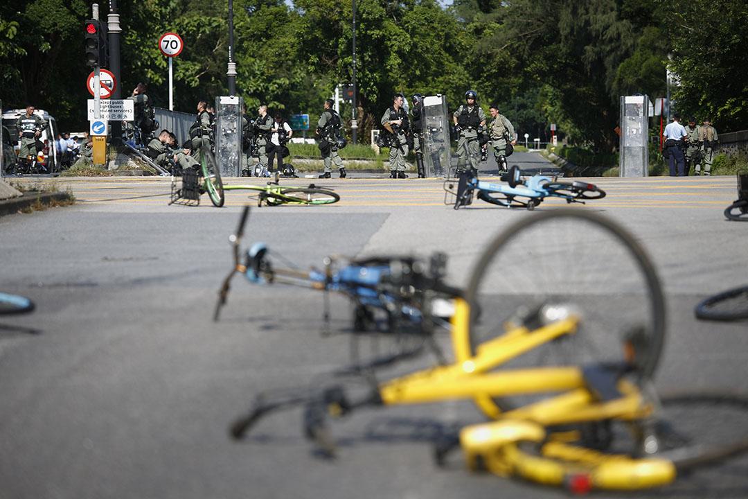 2019年8月5日,大埔示威者架設路障。