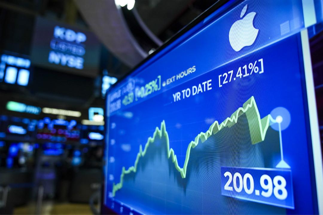 2019年8月13日,美國股市大漲,蘋果公司股票領漲逾200點。 攝:Drew Angerer/Getty Images