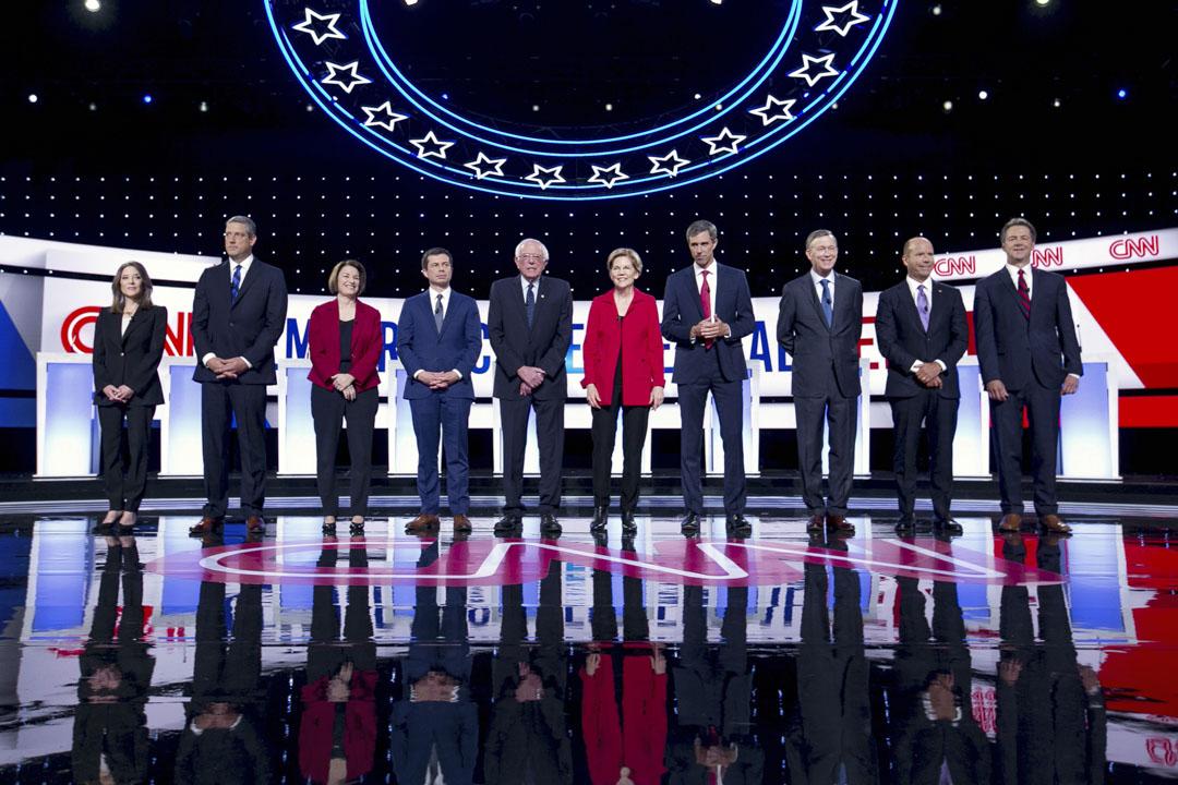 2019年7月20日,美國民主黨初選第二輪辯論在密歇根州底特律市舉行。 攝:Anthony Lanzilote/Bloomberg via Getty Images