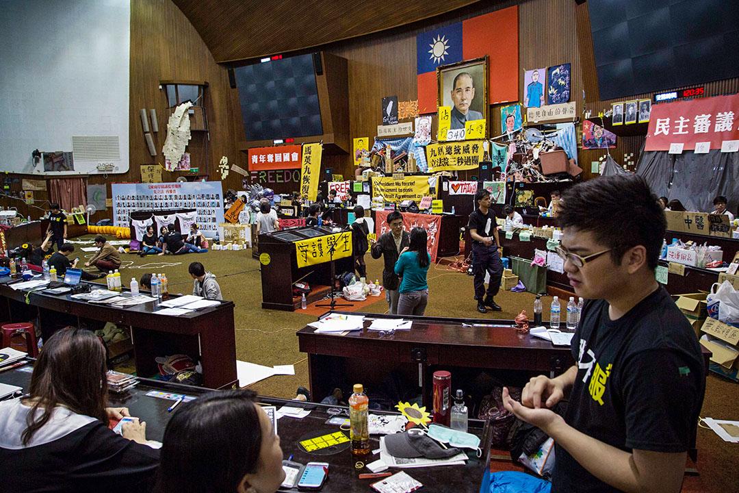 2014年3月31日,佔領者在台灣台北佔領立法院的第14天。