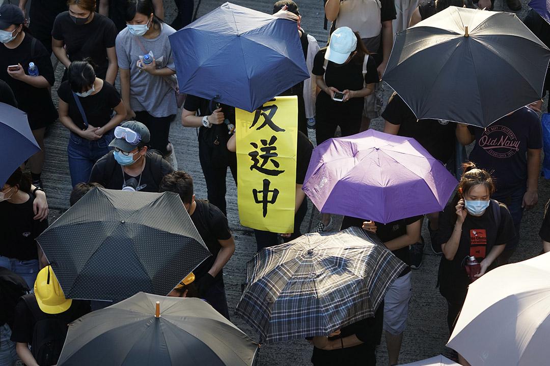 2019年8月5日,示威者衝擊荃灣警署後遊行到南豐中心外。
