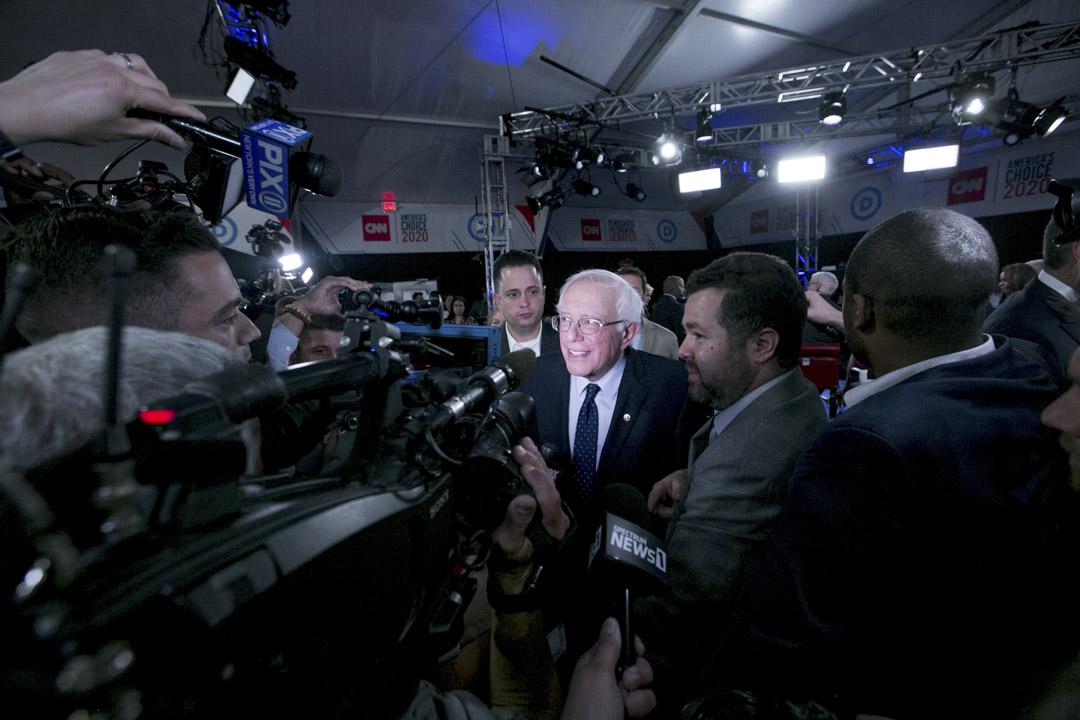 參與民主黨總統初選候選人,佛蒙特州參議員桑德斯(Bernie Sanders)。