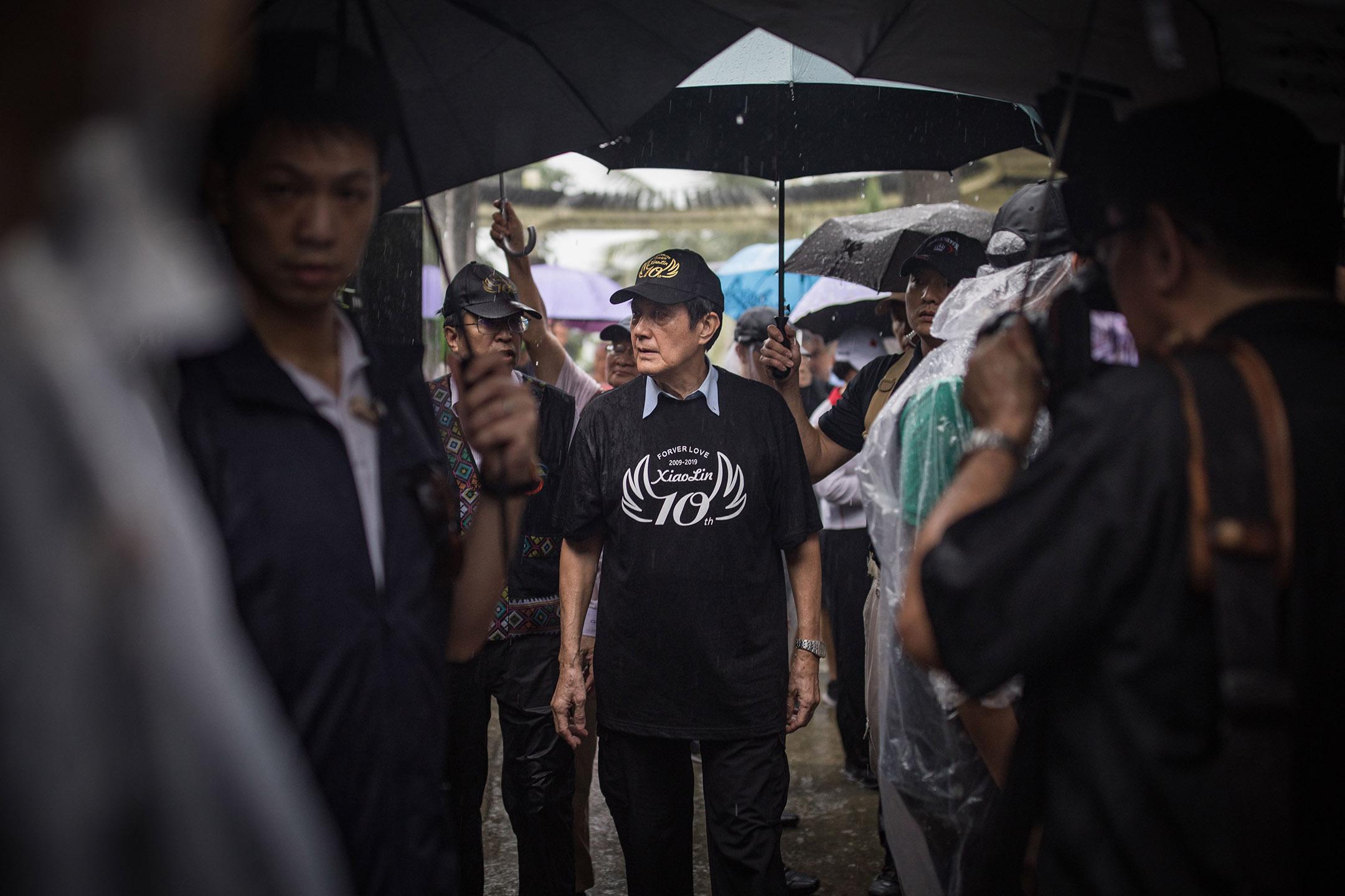 2019年8月8日,馬英九於高雄出席「小林村莫拉克重建10週年『一起回家,好嗎?』紀念活動」。 攝:陳焯煇/端傳媒