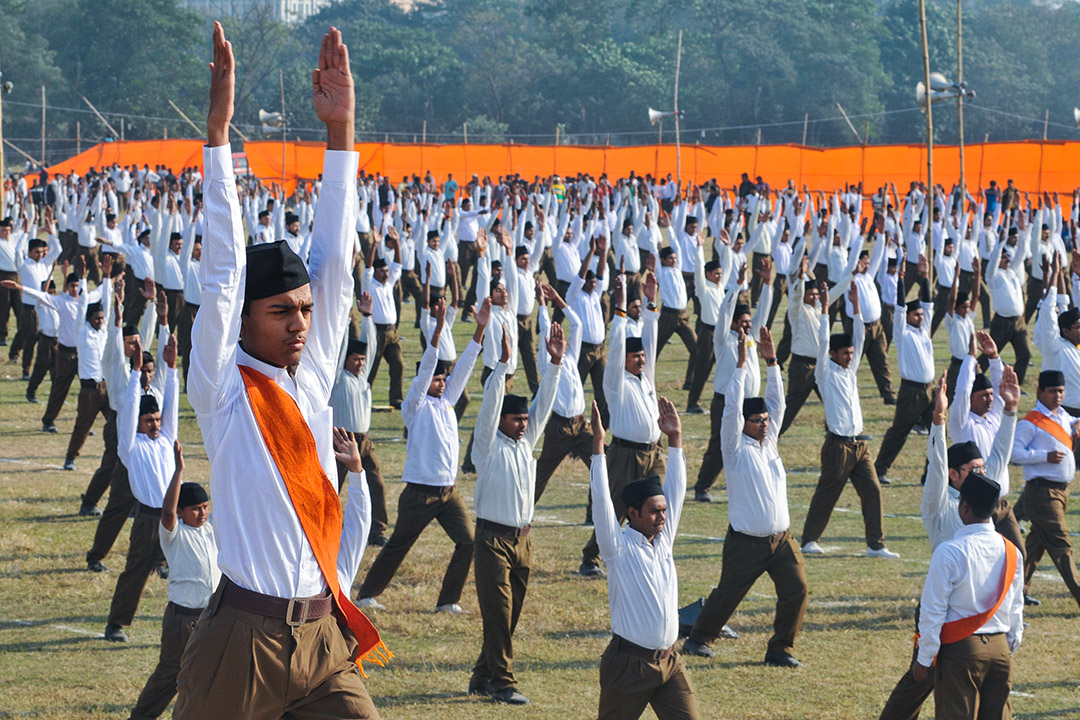 2017年1月14日,印度Rashtriya Swayamsevak Sangh志願者活動組織在加爾各答集會。 攝:Debajyoti Chakraborty/NurPhoto via Getty Images