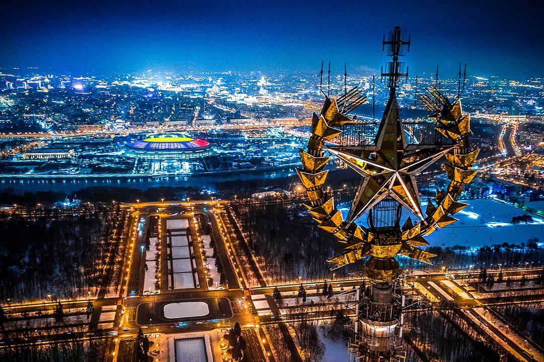 2018年1月27日,莫斯科的莫斯科國立大學,盧日尼基體育場和莫斯科河。