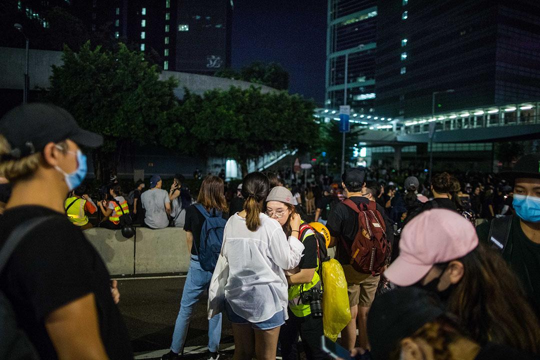 8月18日,夜晚11點金鐘,留守在金鐘的示威者。