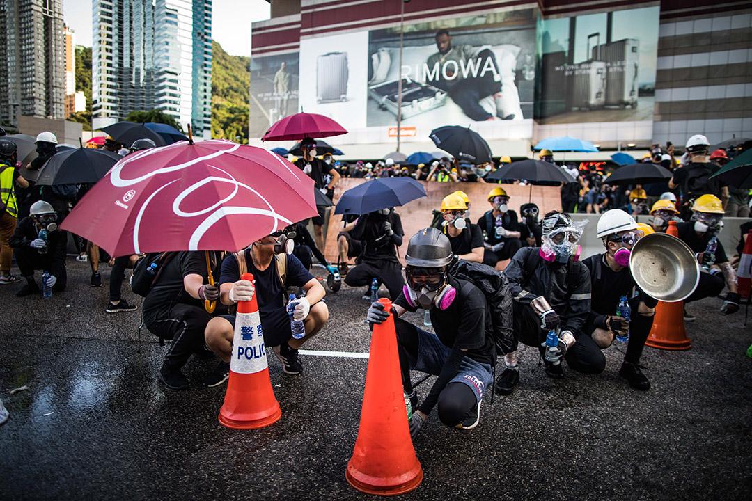 2019年8月5日,金鐘示威者佔路。
