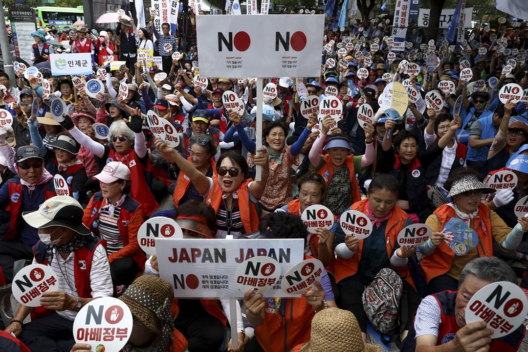 2019年8月13日,南韓首爾有民眾舉行反日集會,抗議日方採取針對南韓的貿易限制措施。 攝:Chung Sung-Jun / Getty Images