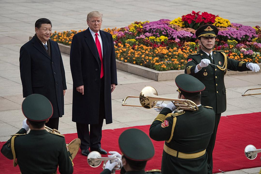 2017年11月9日北京,習近平與美國總統特朗普在歡迎儀式上。