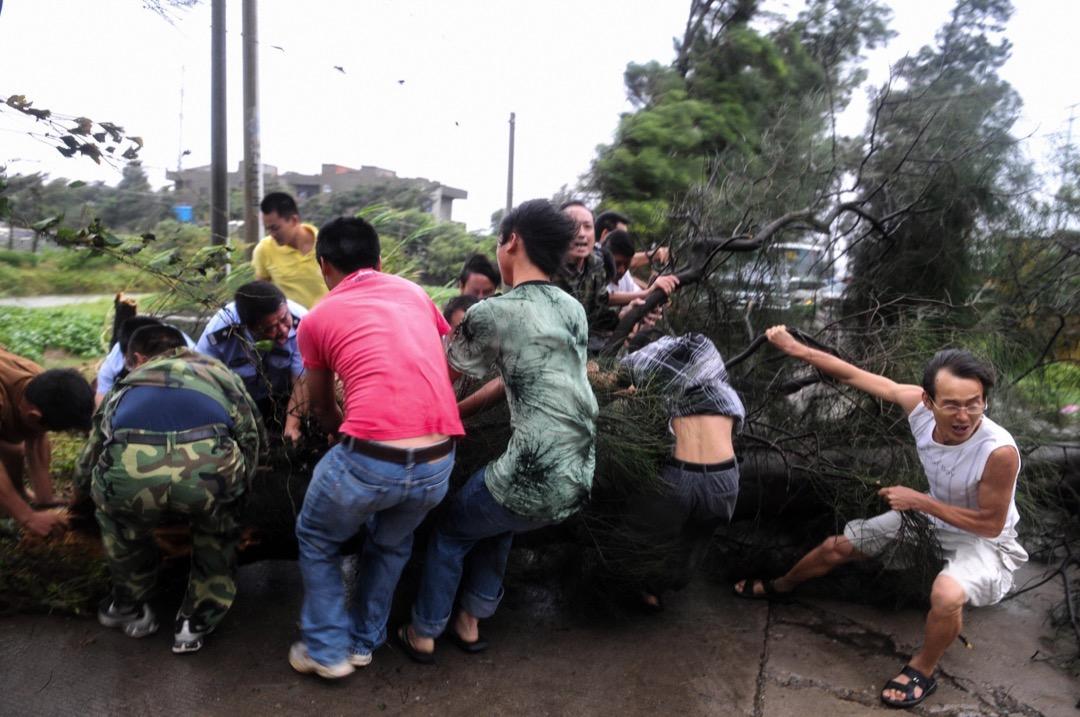2009年8月8日,颱風莫拉克吹襲台灣。 攝:AFP/Getty Images